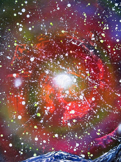 Original Spray Paint Art Painting Galaxy Space Night Sky