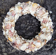 hand made wreath out of sea shells