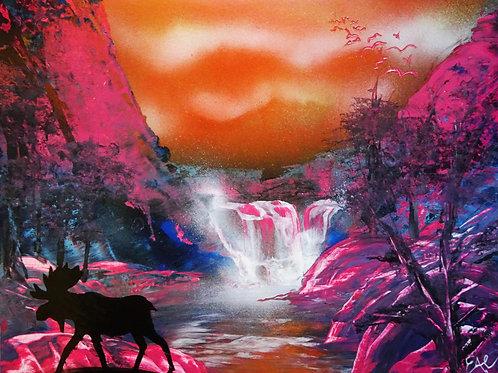 Moose Mountain Sunset Spray Paint Art 14x11 Original