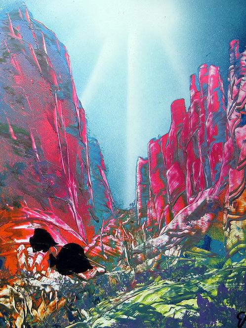 Original Spray Paint Art Under the Sea Painting
