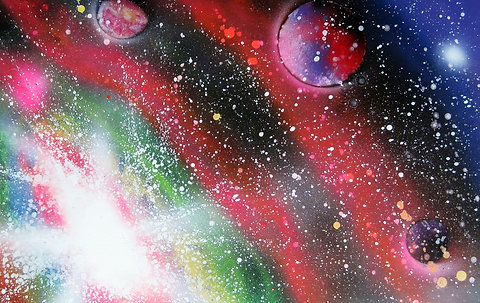 Large Spray Paint Art Space Galaxy Poster Painting Original 22x14