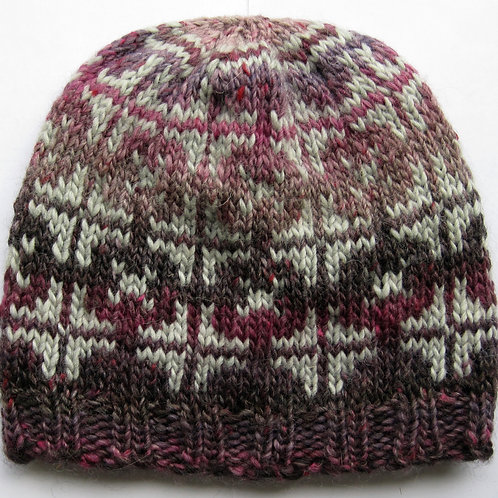 Hand Knit Fair Isle Beanie Hat Purple and Gray