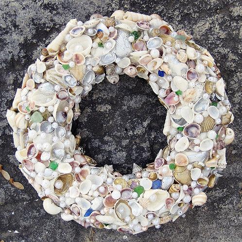 Hand Made Natural Sea Shell Wreath Ocean Home Decor
