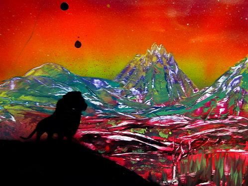 Original Spray Paint Art Lion Landscape Poster Painting