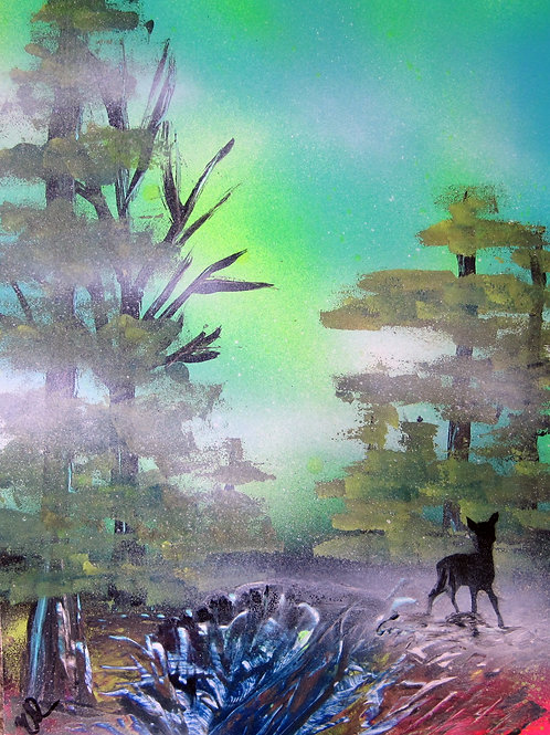Baby Deer in the Fog Landscape Spray Paint Art 14x11