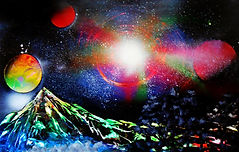 spray paint art painting space planet landscape