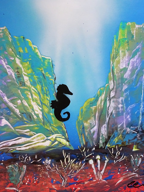 Sea Horse Under Water Coral Reef Spray Paint Art Original 14x11