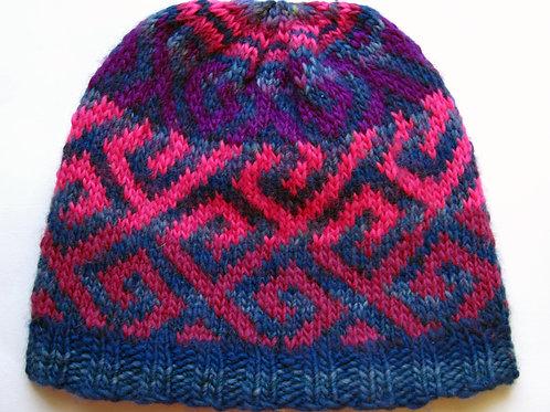 Hand Knit Beanie Hat Fair Isle Blue and Purples