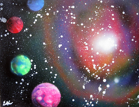 Spray Paint Art Space Galaxy Poster Painting Original 22x14 Large
