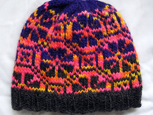 Adult Large Hand Knit Beanie Hat Fair Isle Thick
