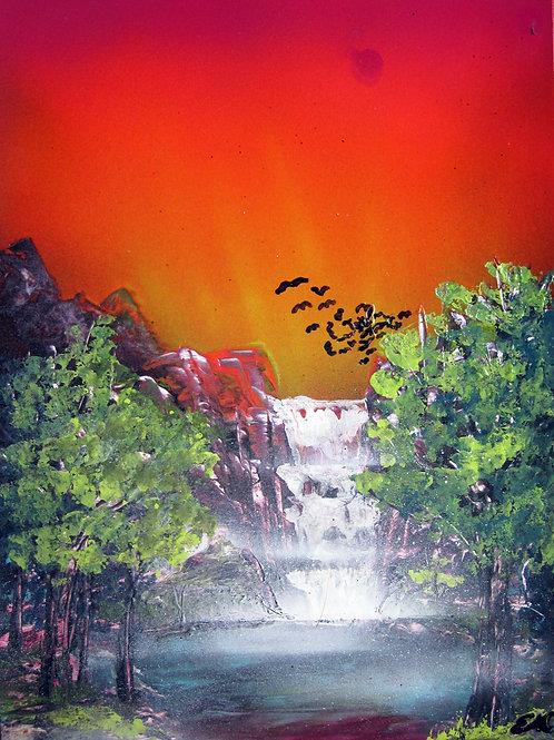 Original Spray Paint Art Natural Landscape Waterfall Poster Painting