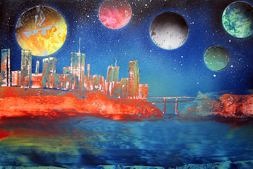 Space City on Water with Bridge Spray Paint Art