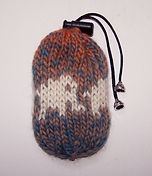 hand knit small drawstring bag elephants
