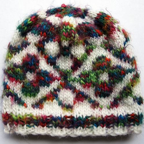 Rainbow Floral Hand Knit Fair Isle Beanie Hat Adult