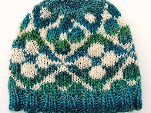 Hand Knit Beanie Hat Soft Blue and White Fair Isle