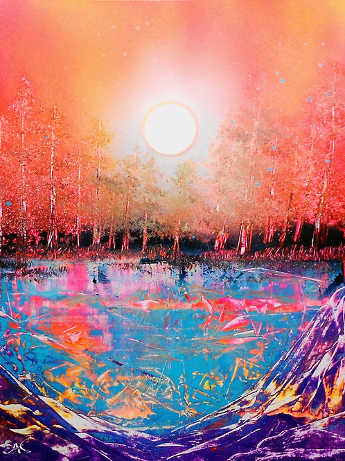 Original Spray Paint Art Fire Trees Landscape Poster Painting
