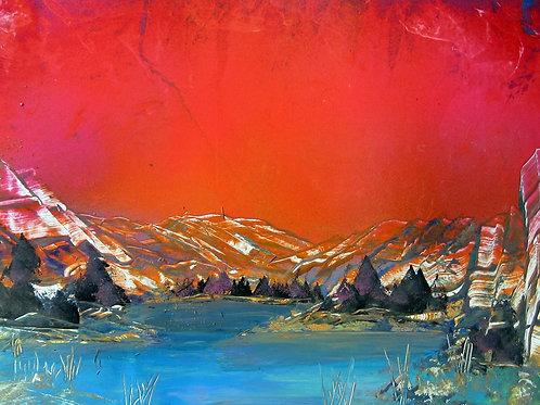 Spray Paint Art Sunset Landscape Poster Painting Original Nature