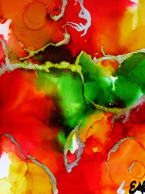 Original Abstract Rasta Series Alcohol Ink Painting 5x7