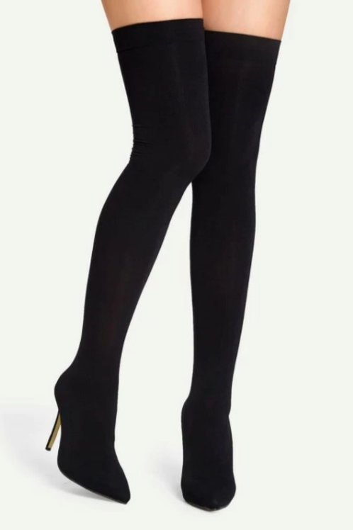 Thigh High Stiletto Sock Boots