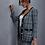 Thumbnail: Pocket Front Frayed Trim Blazer & Plaid Tweed Skirt Set