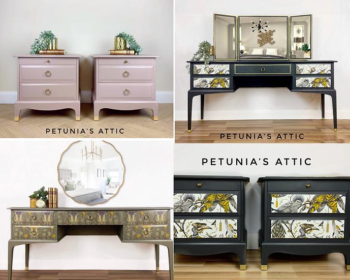 Stag Minstrel Furniture, dressing table, bedside cabinets, desk, drawers
