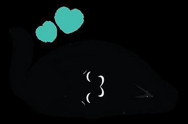 Gato deitado com corações verdes