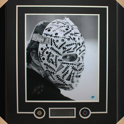 Gerry Cheevers Signed 16x20 Mask Frame