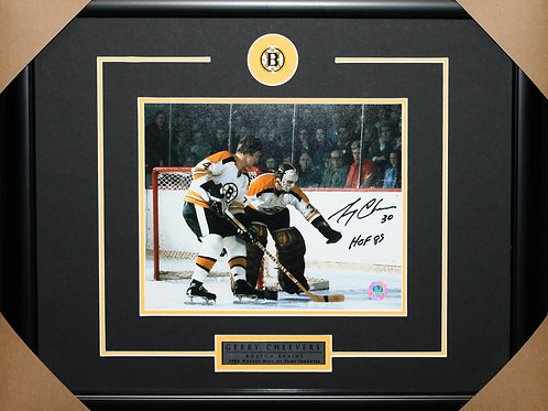 Gerry Cheevers Signed 8x10 Orr Frame
