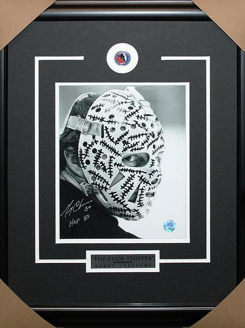 Gerry Cheevers Signed 8x10 Mask Frame