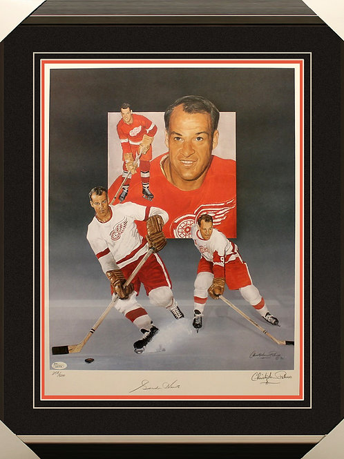 Gordie Howe Signed Lithograph Frame