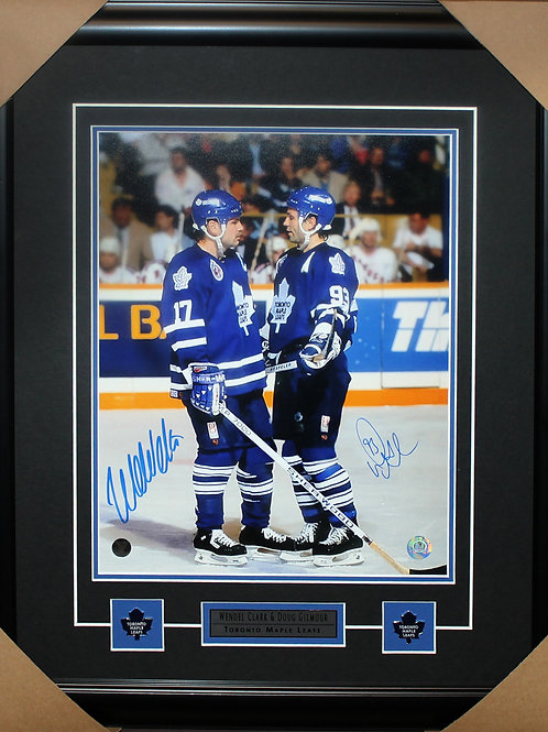 Doug Gilmour/Wendel Clark Dual Signed Standing 11x14 Frame