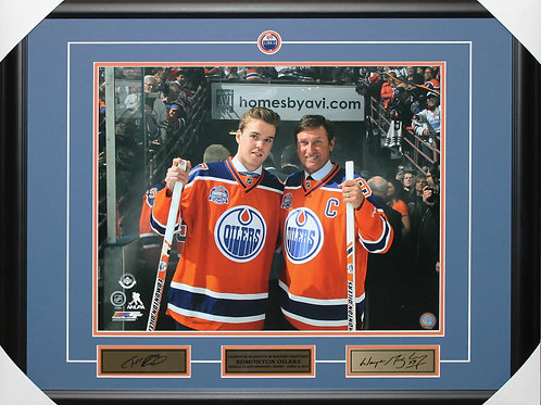 Connor McDavid/Wayne Gretzky Unsigned Rexall Frame