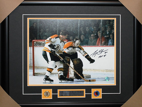 Gerry Cheevers Signed 11x14 Orr Frame