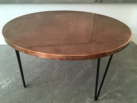 Unique Vintage Metal Hammered Round Side Table Copper Coffee Table
