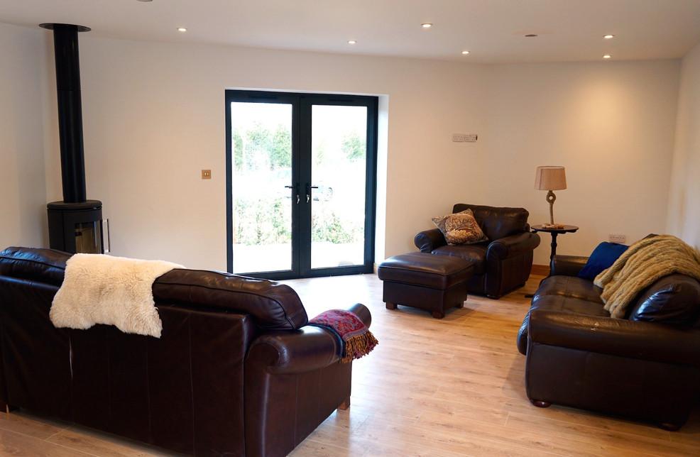 Spacious living area with Log Burner