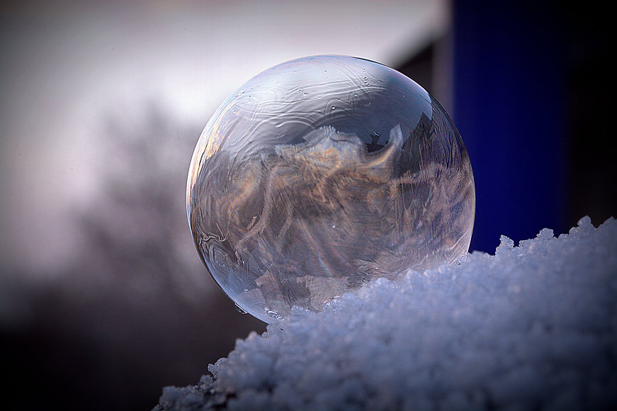 Fozen soap bubble and snow