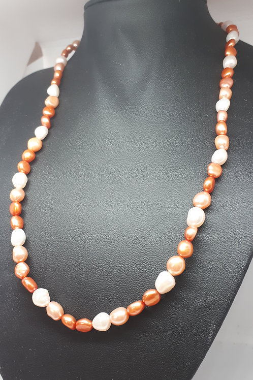 Silver plated coral and cream pearl necklace