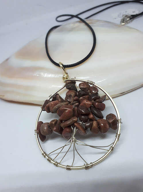 Rhodonite tree of life necklace