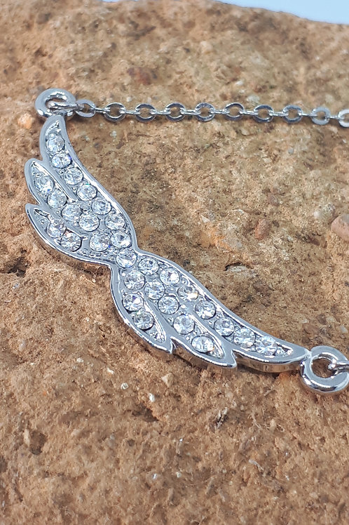 Silver tone angel wing necklace