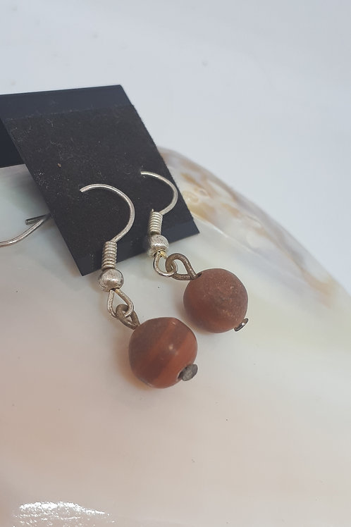 Silver plated jasper earrings