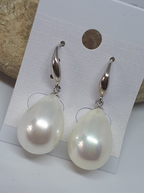 White shell pearl rhodium overlay sterling silver earrings
