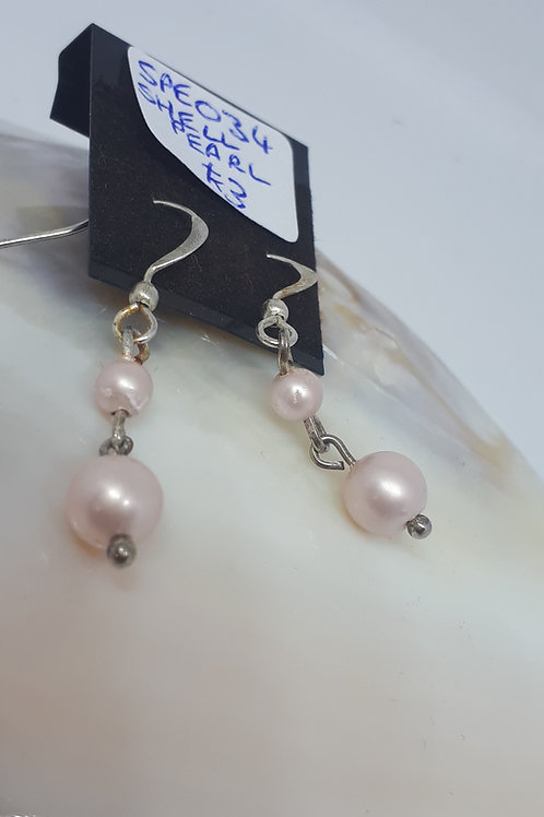 Silver plated pastel pink shell pearl earrings