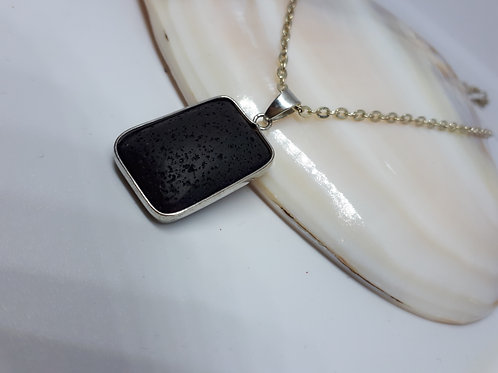 Silver-plated Lava rock pendant necklace