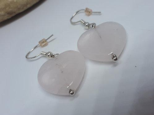 Sterling silver rose quartz heart earrings