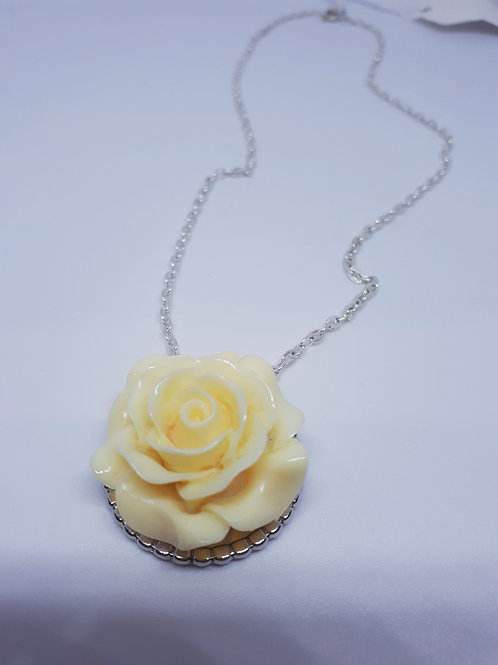 Silver plated resin rose necklace