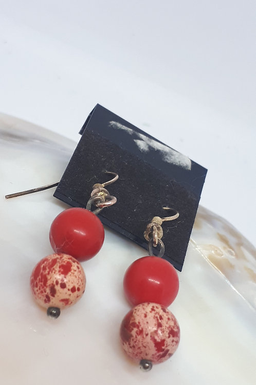 Gold plated red impression jasper earrings