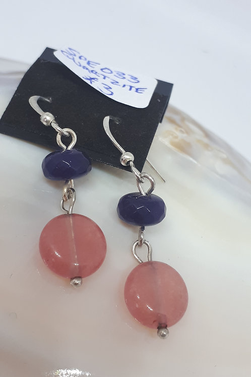 Silver plated purple and pink quartzite earrings