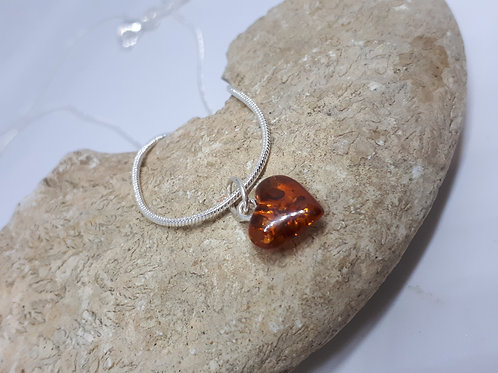 Silver plated amber heart necklace