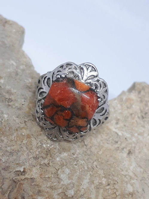 Silver plated mojave turquoise ring