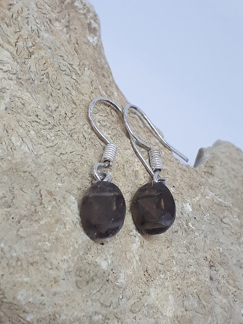 Sterling silver smokey quartz earrings